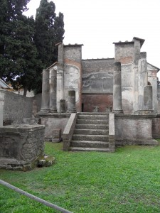 The Temple of the Egyptian goddess Isis in the ruins of Pompeii in Italy