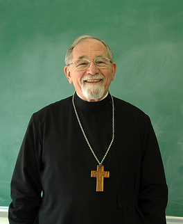 Fr Thomas Hopko right where he always belonged: in front of a blackboard, beaming at eager and hungry minds.